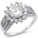 Fine Solitaire Cz Flower .925 Sterling Silver Ring Sizes 5-10