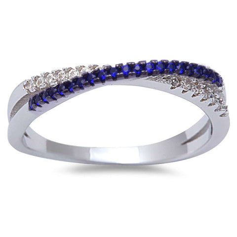 <span>CLOSEOUT!</span>Blue Sapphire Cubic Zirconia Infinity .925 Sterling Silver Ring Sizes 4-10
