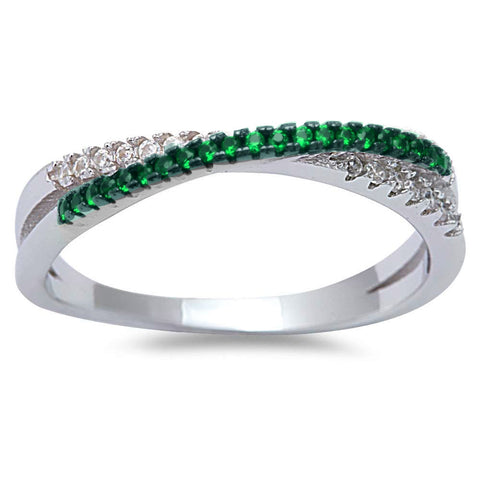 <span>CLOSEOUT!</span>Emerald Cubic Zirconia Infinity .925 Sterling Silver Ring Sizes 4-10