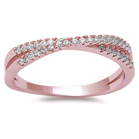 <span>CLOSEOUT!</span>  Rose Gold Plated New Style Cubic Zirconia Infinity .925 Sterling Silver Ring Sizes 4-10
