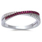 <span>CLOSEOUT!</span>Ruby Cubic Zirconia Infinity .925 Sterling Silver Ring Sizes 4-10