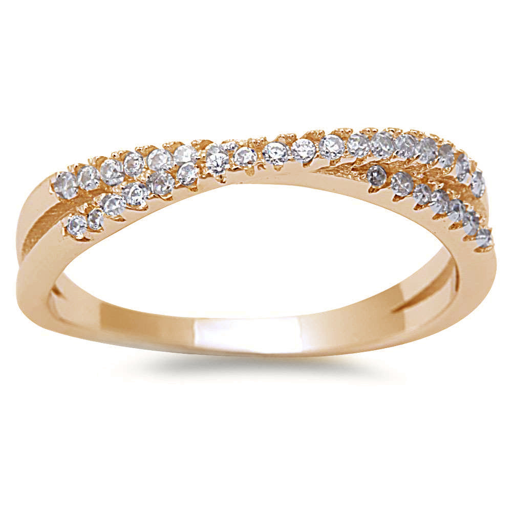 <span>CLOSEOUT!</span>  Yellow Gold Plated New Style Cubic Zirconia Infinity .925 Sterling Silver Ring Sizes 4-10