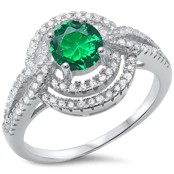 Green Emerald & Cz  .925 Sterling Silver Ring Sizes 5-10