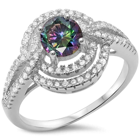 Round Rainbow Topaz & Cz .925 Sterling Silver Ring Sizes 5-10