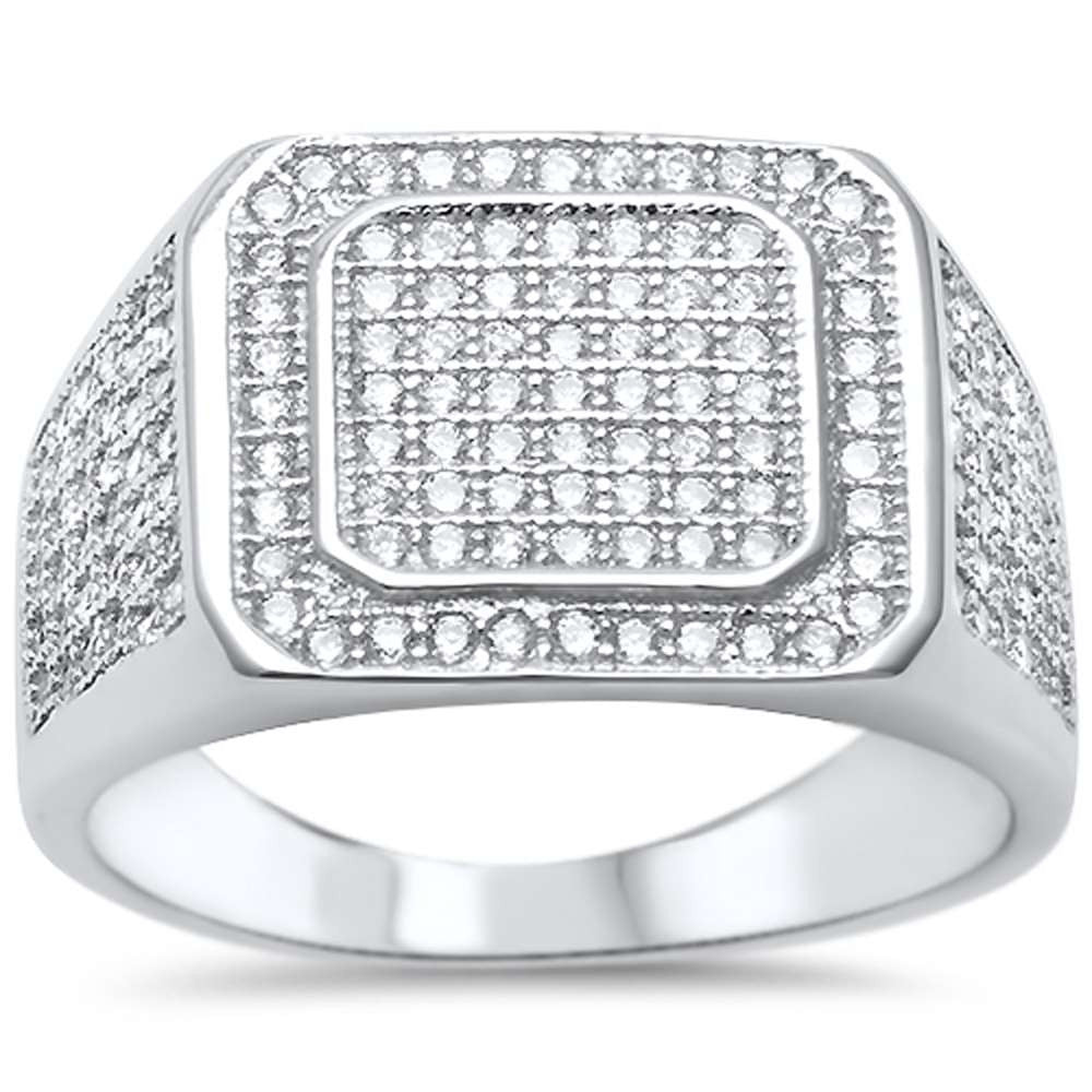 Mens Hip Hop MicroPave CZ  925 Sterling Silver Ring Sizes 8-12