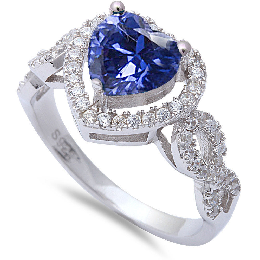 <span>CLOSEOUT!</span>Heart Shaped Tanzanite & Cz .925 Sterling Silver Ring Sizes 5-10