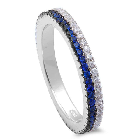 Blue Sapphire & Cz Band .925 Sterling Silver Ring Sizes 5-9
