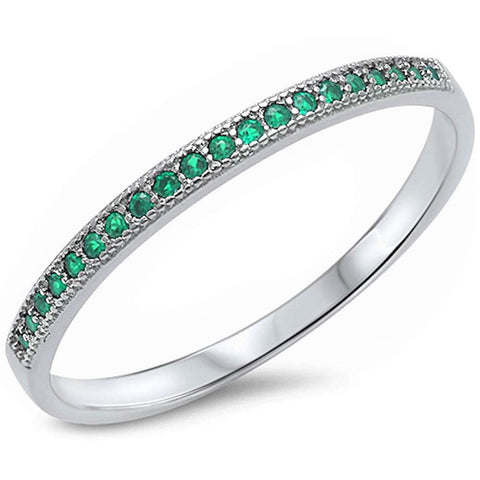 Green Emerald Eternity Style Band .925 Sterling Silver Ring Sizes 4-12
