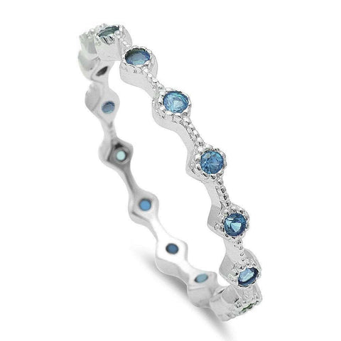 Aquamarine Eternity Style Band .925 Sterling Silver Ring Sizes 3-10