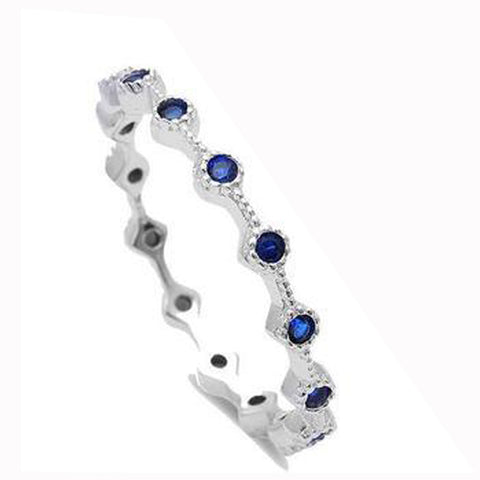 Blue Sapphire Eternity Style Band .925 Sterling Silver Ring Sizes 3-10