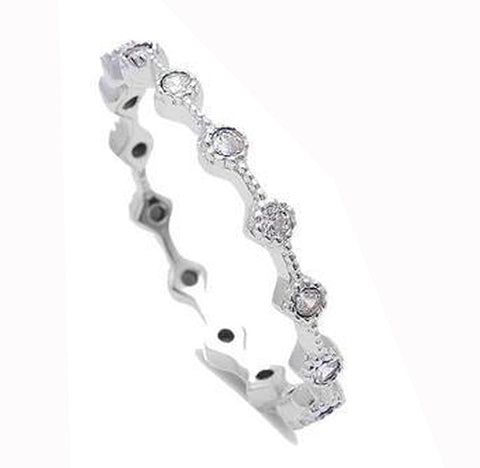 Cubic Zirconia Eternity Style Band .925 Sterling Silver Ring Sizes 3-10