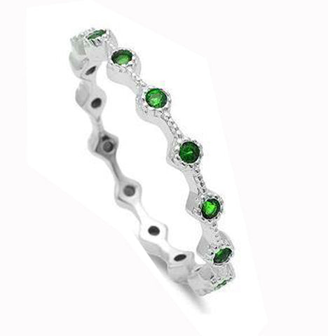 Emerald Eternity Style Band .925 Sterling Silver Ring Sizes 3-10
