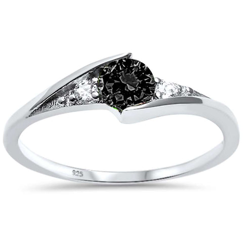 New Round Black Onyx Solitaire Fashion .925 Sterling Silver Ring Sizes 3-10