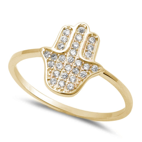 Yellow Plated Hamsa Hand of Gold Religious .925 Sterling Silver Ring Sizes 4-10