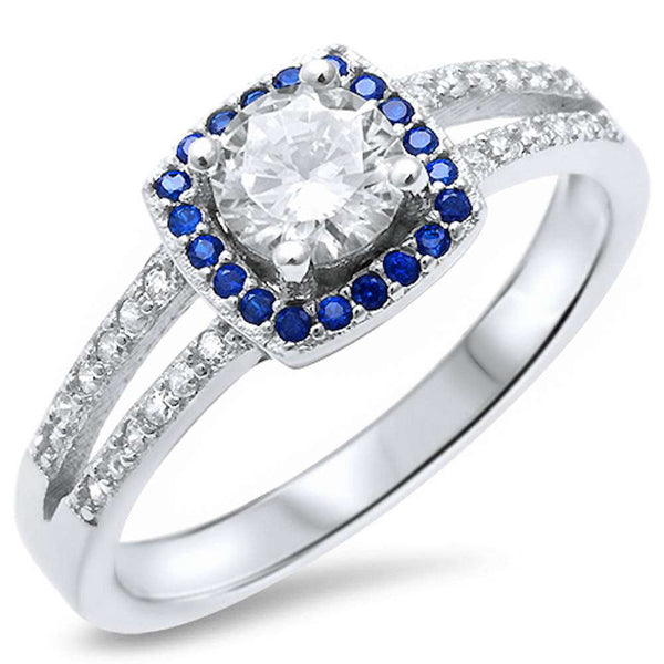Round Solitaire Cubic Zirconia & Sapphire .925 Sterling Silver Ring Sizes 4-10