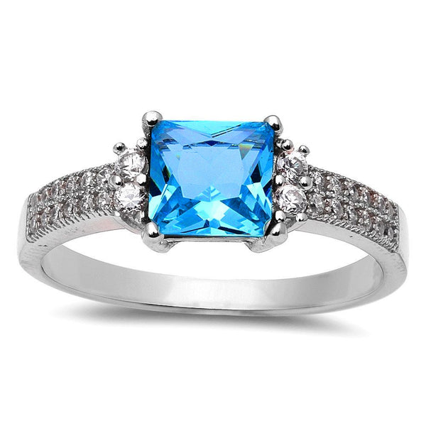 Princess Cut Blue Topaz & Cubic Zirconia .925 Sterling Silver Ring Size 4-10