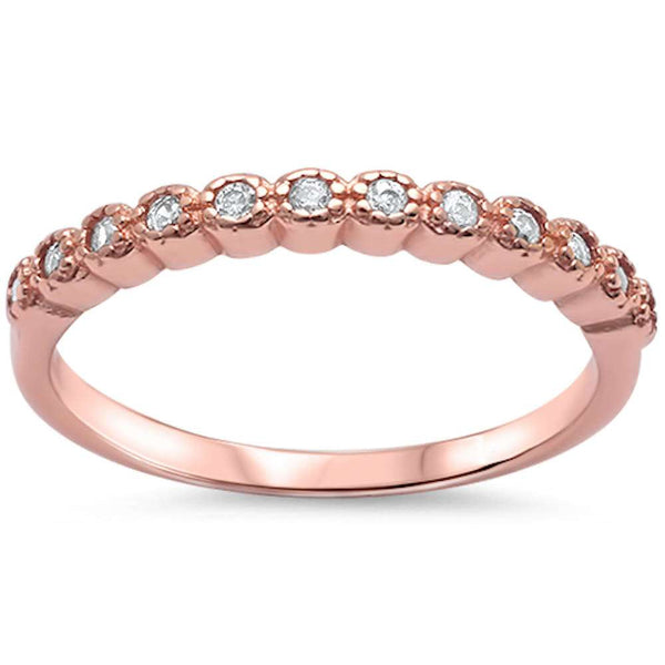 Rose Gold Plated Cz .925 Sterling Silver Ring Sizes 4-11