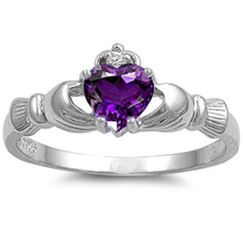 Amethyst Heart Claddagh Ring .925 Sterling Silver Sizes 4-12