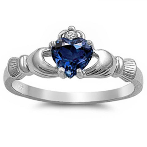 IRISH CLADDAGH Blue Sapphire Ring Sizes 3-12