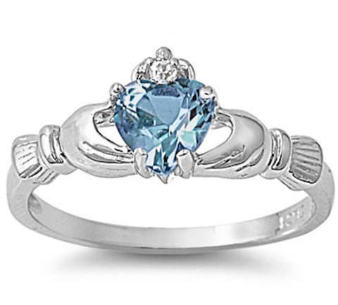 IRISH CLADDAGH Aquamarine Ring Size 6