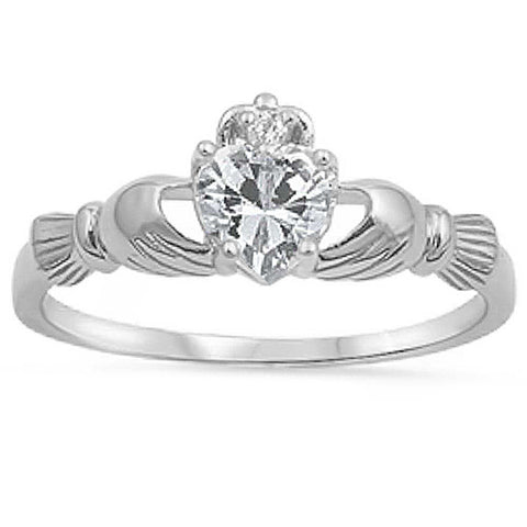 Clear Cz Heart Claddagh Ring .925 Sterling Silver Sizes 4-10