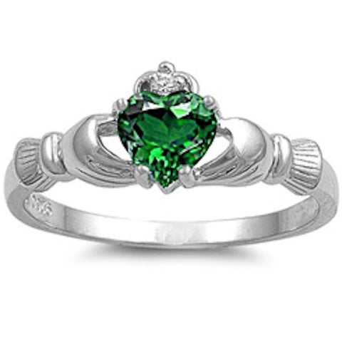 IRISH CLADDAGH Emerald Heart Ring Sizes 3-12