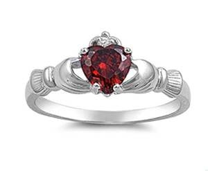 Garnet Claddagh Ring .925 Sterling Silver Sizes 4-12