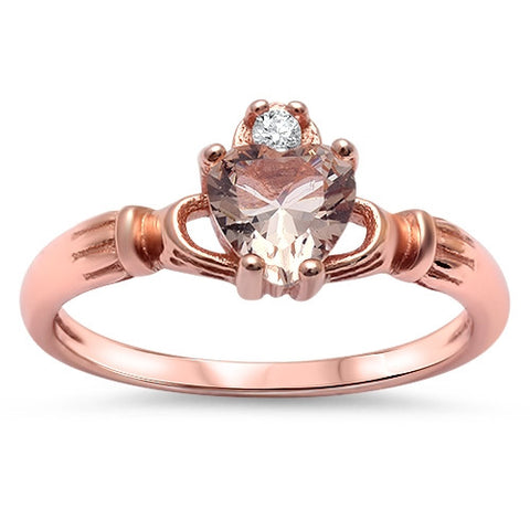 Morganite & Cz Irish Claddagh .925 Sterling Silver Ring Sizes 5-10