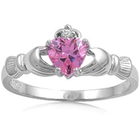 Pink Topaz Heart Claddagh Ring .925 Sterling Silver Sizes 4-12