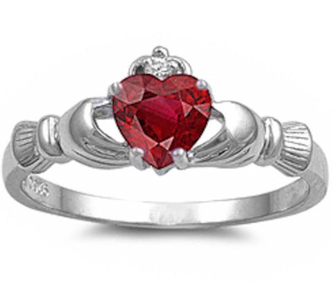 Ruby Heart Claddagh Ring .925 Sterling Silver Sizes 4-12