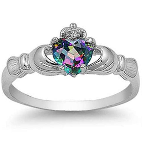 IRISH CLADDAGH Rainbow Colored Topaz Heart Ring Sizes 3-12