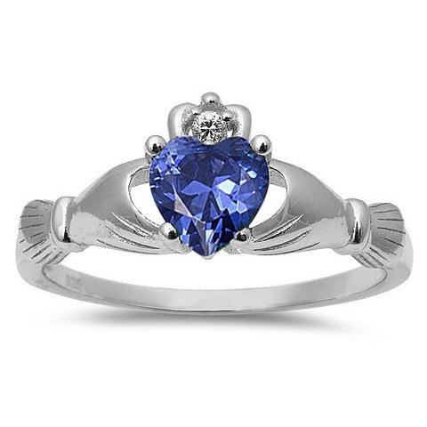 Tanzanite Heart Claddagh Ring .925 Sterling Silver Sizes 3-12