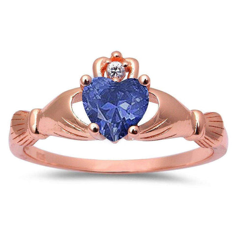 Rose Gold Plated Tanzanite & Cubic Zirconia Claddagh .925 Sterling Silver Ring Sizes 3-12