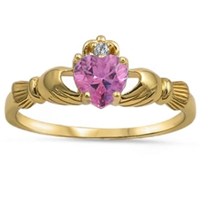 Yellow Gold Plated Pink Topaz & Cubic Zirconia Calddagh .925 Sterling Silver Ring Sizes 4-11
