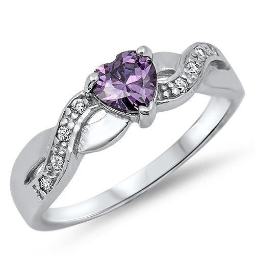 Amethyst Heart with Cz Accent .925 Sterling Silver Ring Sizes 4-11