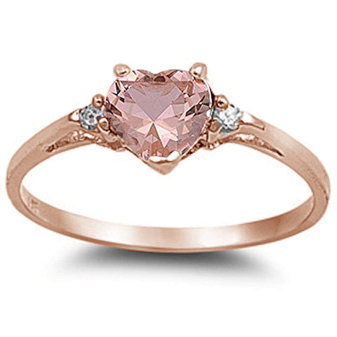 Rose Gold Plated Morganite Cubic Zirconia Heart .925 Sterling Silver Ring Sizes 5-10