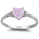 Pink Opal Heart & Cz .925 Sterling Silver Ring Sizes 4-11