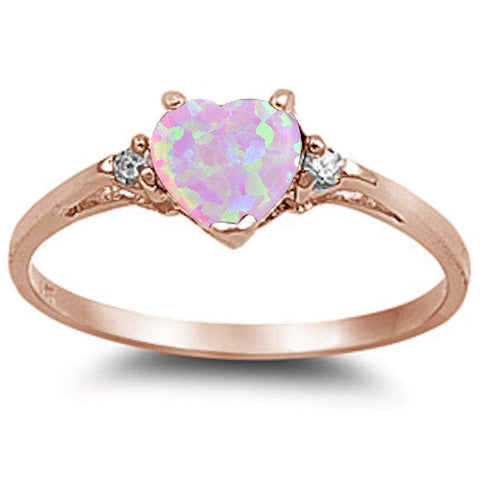 Rose Gold Pink Opal Heart & Cz .925 Sterling Silver Ring sizes 5-10