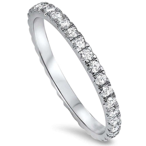 New Round Cz Eternity Style Band .925 Sterling Silver Ring Sizes 3-10