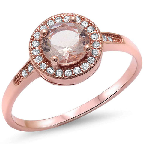 Halo Morganite & Cz Engagement .925 Sterling Silver Ring Sizes 5-20