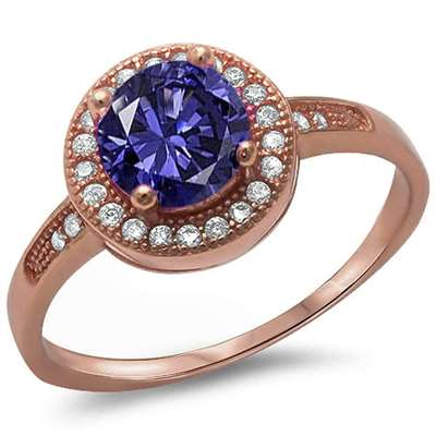 Halo Style Tanzanite & Cz .925 Sterling Silver Ring Sizes 3-11
