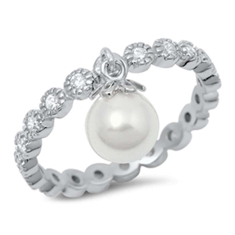 Round Eternity Band & Dangle Pearl .925 Sterling Silver Ring Sizes 4-10