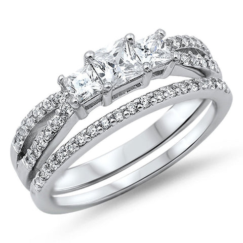PRINCESS CUT CZ BRIDAL ENGAGEMENT SET .925 Sterling Silver Ring Sizes 5-10