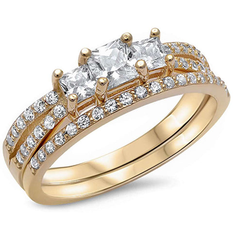 Yellow Gold Plated Princess cut Cz Engagement Set .925 Sterling Silver Sizes 4-12