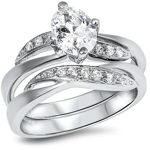 Fine Cz Wedding Engagement Set .925 Sterling Silver Ring Sizes 5-10