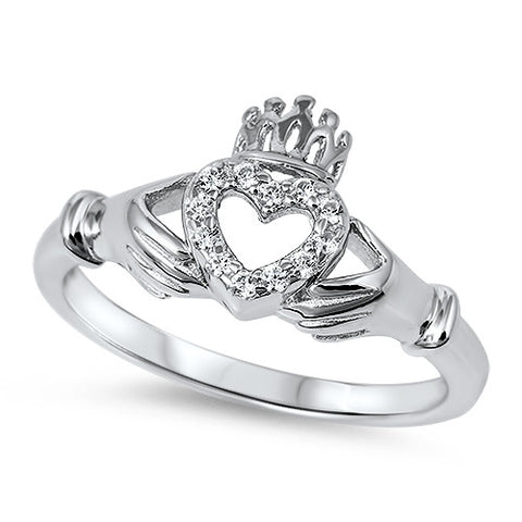 BEAUTIFUL IRISH CLADDAGH HEART .925 Sterling Silver Ring Sizes 5-10
