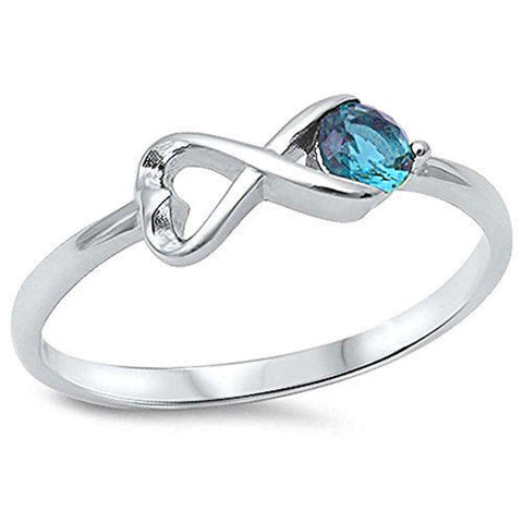 Aquamarine Infinity .925 Sterling Silver Ring Sizes 4-10
