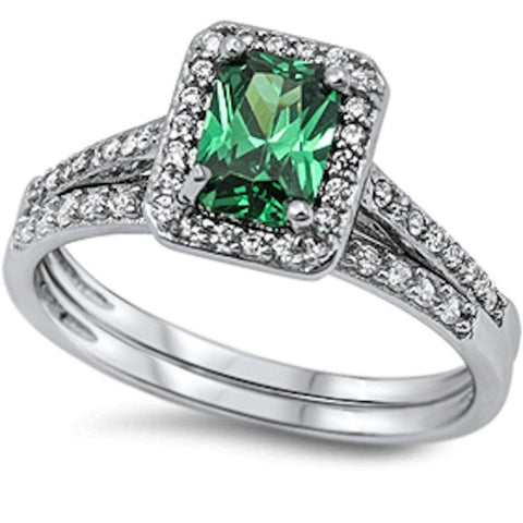 New Green Emerald & Cz 2 Rings Set .925 Sterling Silver Ring Sizes 5-10