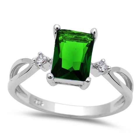 Radiant Cut Emerald & Cz .925 Sterling Silver Ring Sizes 5-10