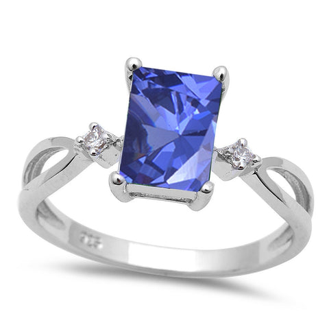 Radiant cut Tanzanite & Cubic Zirconia .925 Sterling Silver Ring Sizes 5-10
